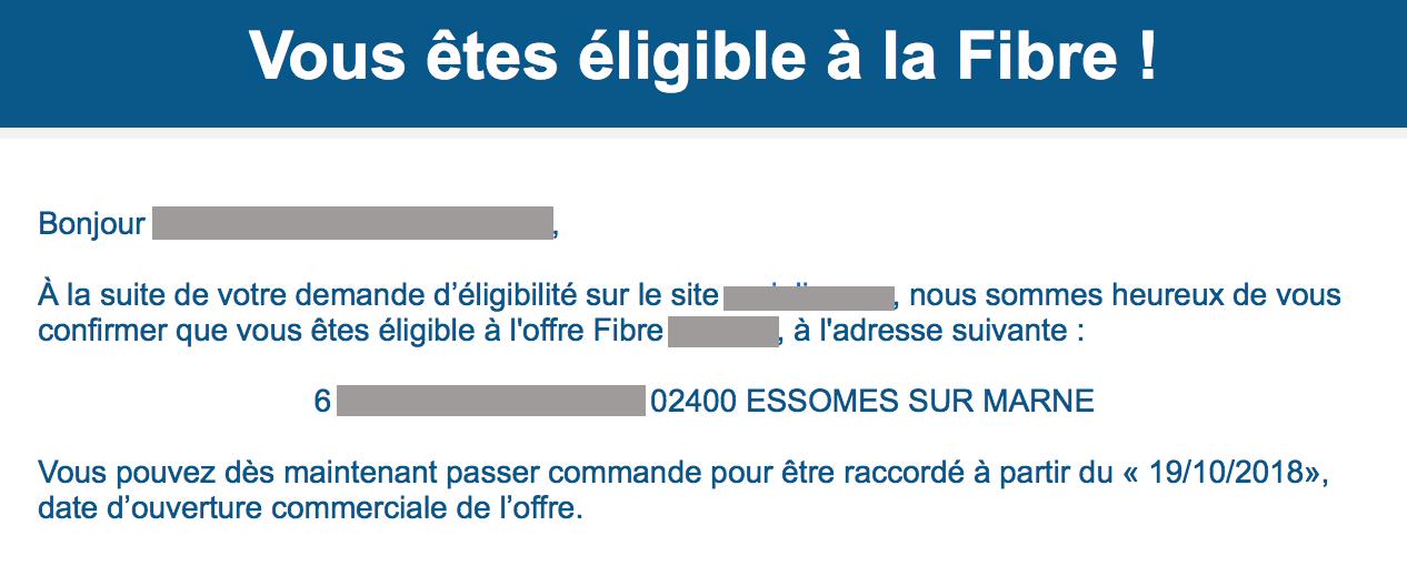 Type de message que l'on peut recevoir sur sa boite mail, de la part des Fourisseurs d'Accès à Internet avec la Fibre