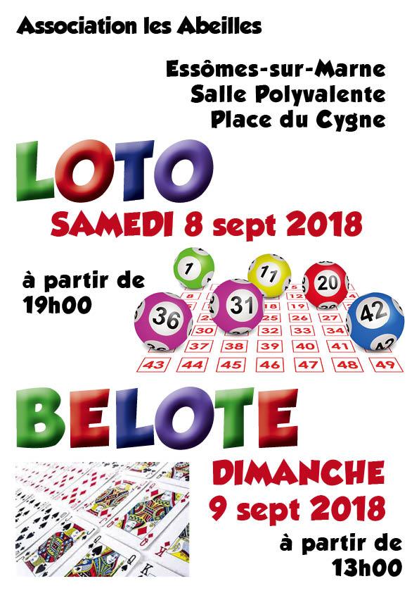 L'association les Abeilles propose un loto le 8 septembre à partir de 19h et un concours de belote le 9 septembre à partir de 13h00