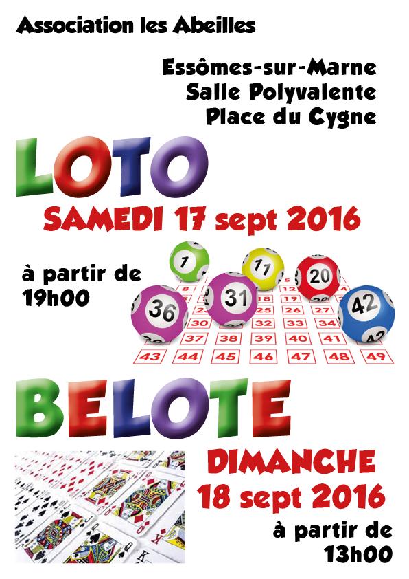 L'association les Abeilles propose un loto et un concours de belote. Samedi 17 et Dimanche 18 septembre 2016