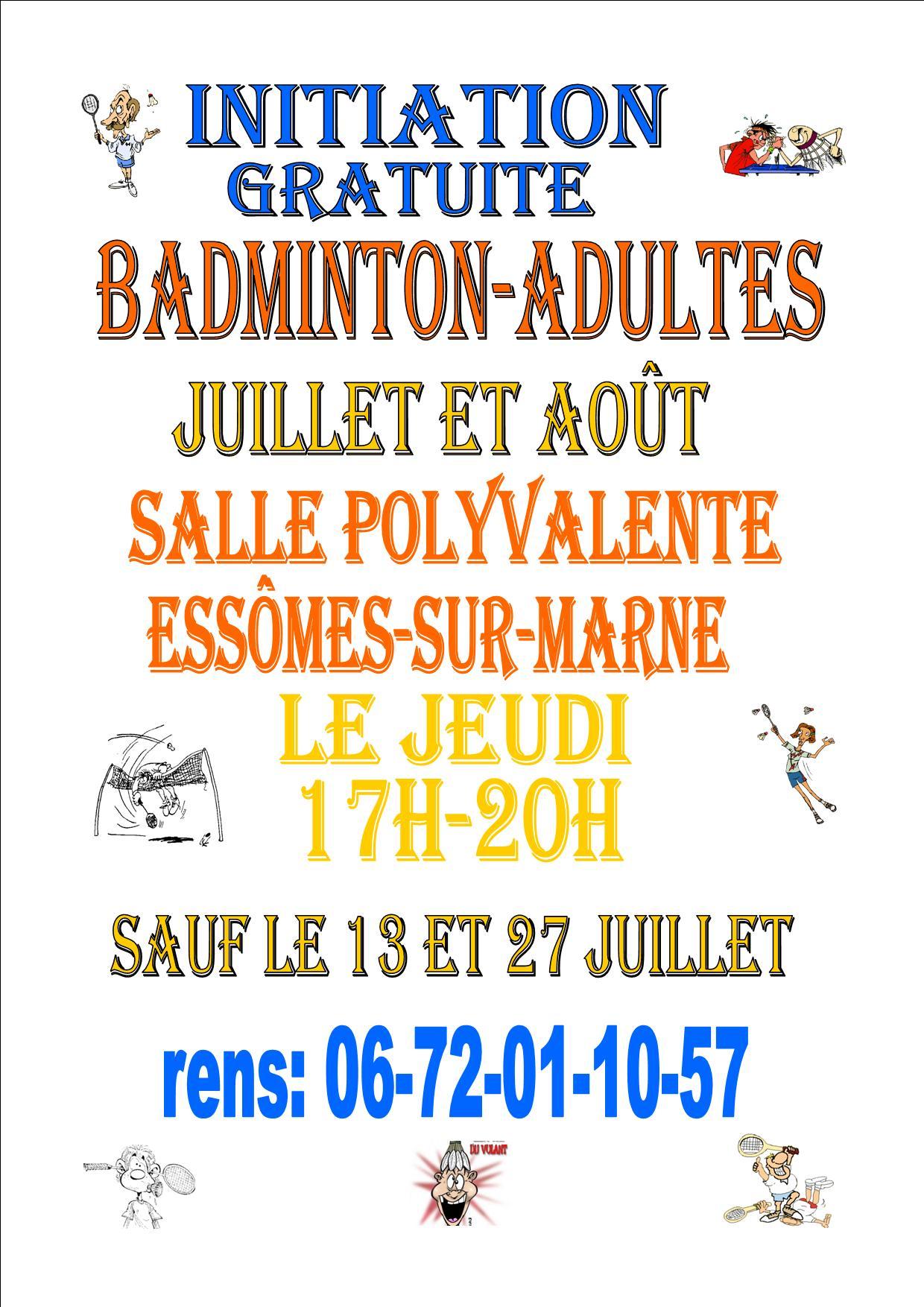 Initiation au badminton en juillet et août 2017