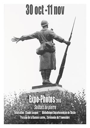 A l'occasion de la commémoration du centenaire de la guerre de 1914-1918, présentation d'une exposition photos de la Bibliothèque Départementale, Soldats de pierre.