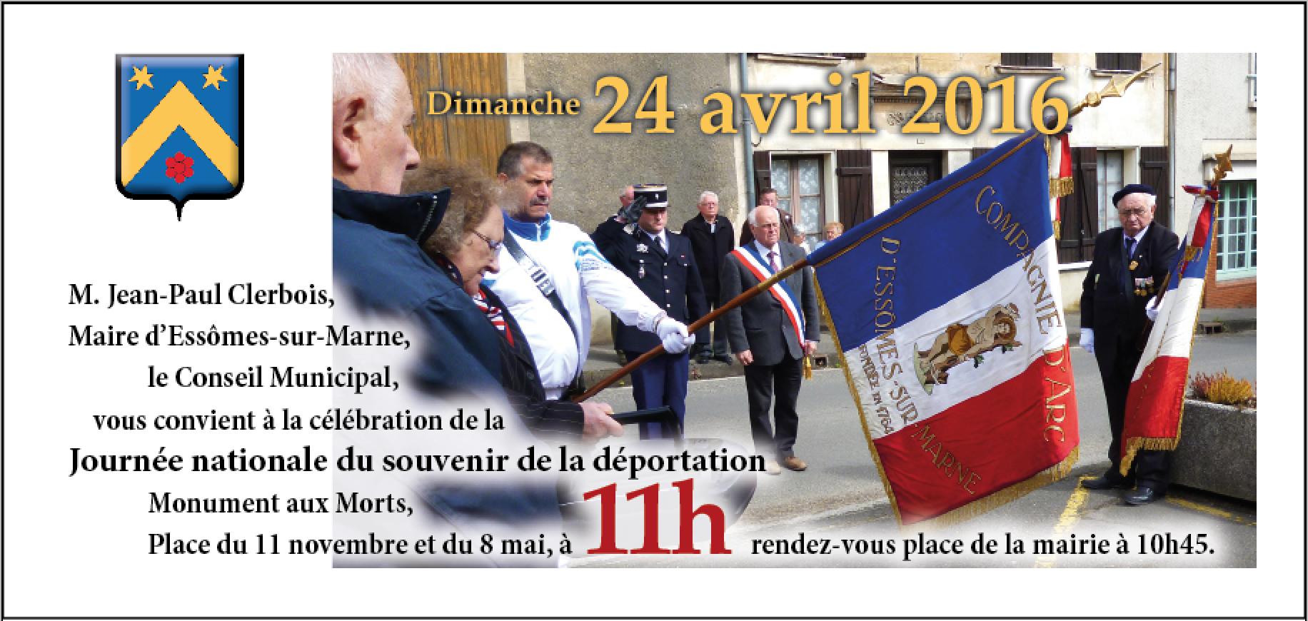 Journées nationale du souvenir de la déportation, le dimanche 24 avril