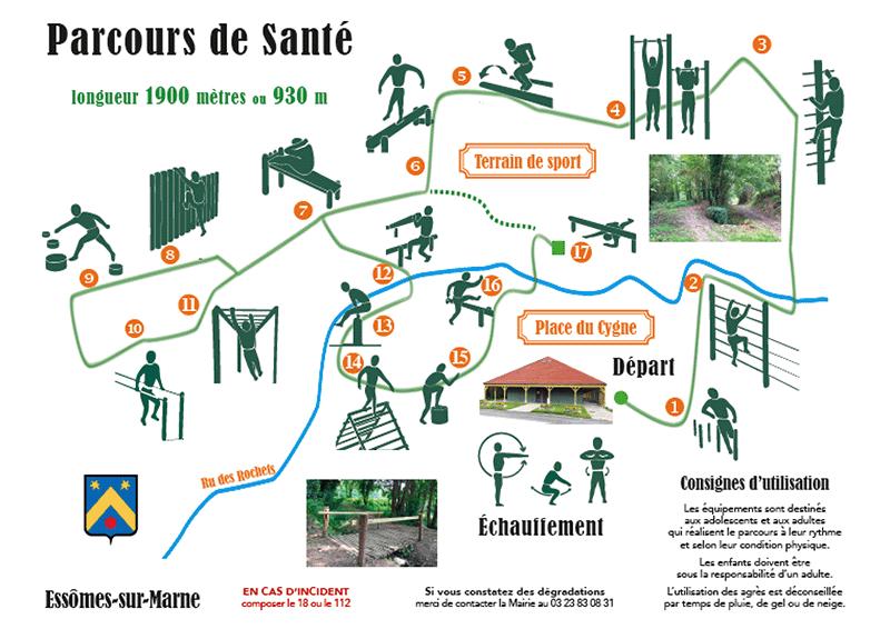 Le CRAPA: plan du parcours de santé à Essômes-sur-Marne