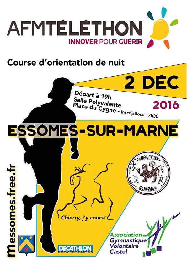 Téléthon 2016 à Essômes-sur-Marne. Course d'orientation de nuit